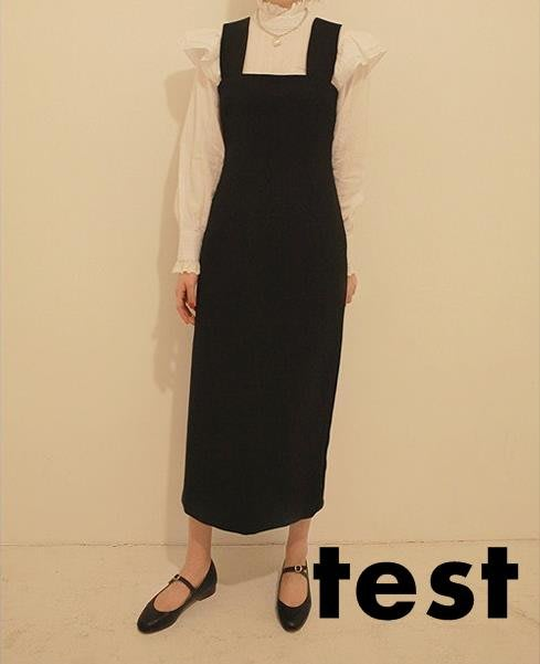 洋裝 黑色背帶裙長版 新品秋季女裝正韓時尚顯瘦直筒工裝背帶洋裝-