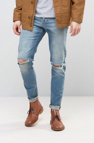 ◎美國代買◎ASOS淺藍大腿刷色雙膝刷破英倫頹廢風帥氣顯廋牛仔褲~歐美街風~大尺碼