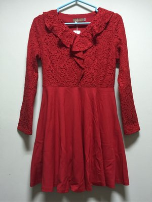 衣飾情緣。nice ioi 紅色蕾絲長袖洋裝 M號