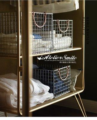 [ Atelier Smile ] 鄉村雜貨 北歐風 INS 鐵製簡約風 收納籃 網格鐵籃 衣物籃  #A款 (現+預)