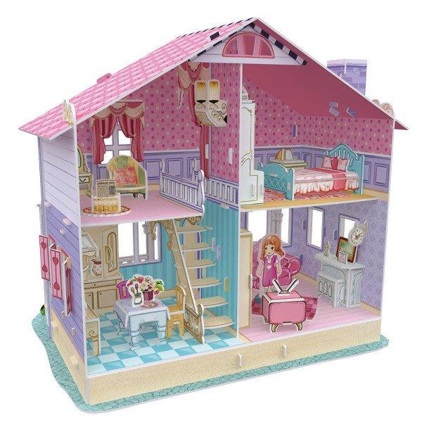 佳廷家庭 DIY紙模型3D立體勞作拼圖專賣店 甜蜜居家佈置 夢幻洋娃娃屋3 凱莉 禮盒版 樂立方P679