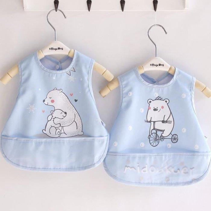 寶寶圍兜小孩圍嘴口水巾防水食飯兜嬰兒按扣喂飯衣2個裝