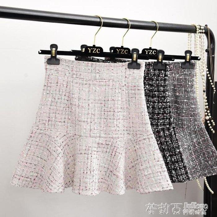 包臀裙 韓版高腰魚尾裙亮絲毛呢半身裙顯瘦荷葉邊a字短裙女