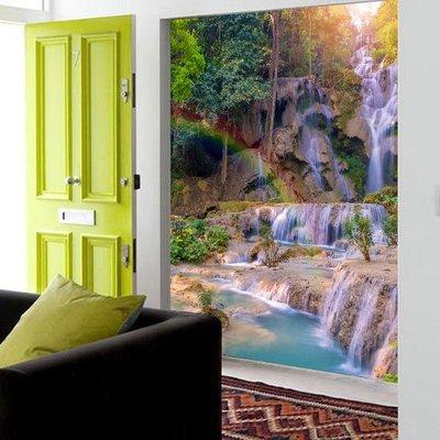 客製化壁貼 店面保障 編號F-592 彩虹瀑布 壁紙 牆貼 牆紙 壁畫 星瑞 shing ruei
