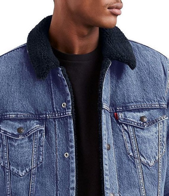 【黑羊絨裡毛領XS-XXL號】美國LEVI S Sherpa Trucker Jacket 深藍鋪棉袖牛仔外套保暖夾克