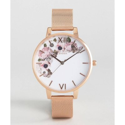 OLIVIA BURTON LONDON 英國品牌 Winter Garden Rose Gold Mesh Watch