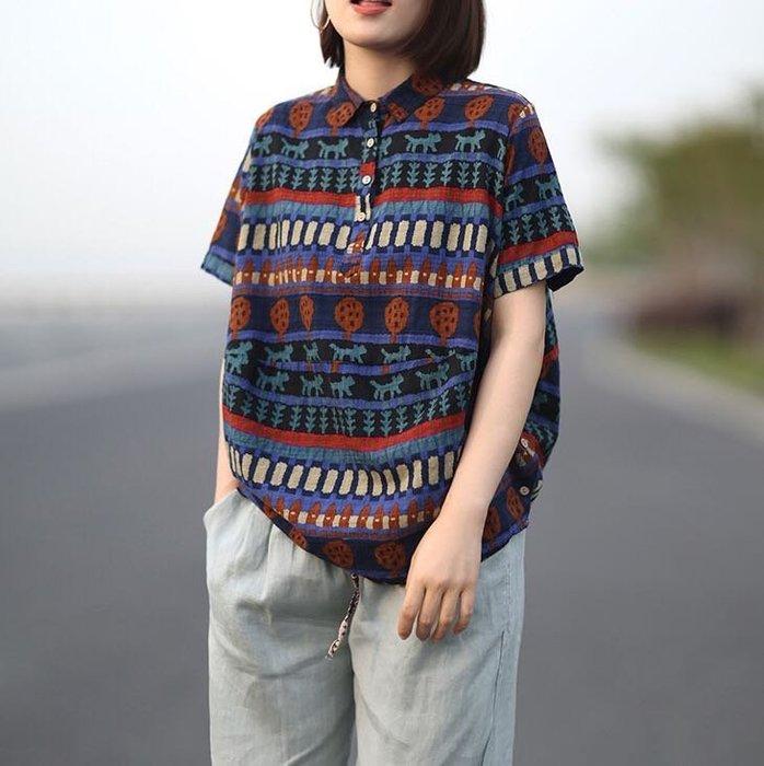 寬鬆顯瘦文藝圖騰短袖棉麻襯衫上衣