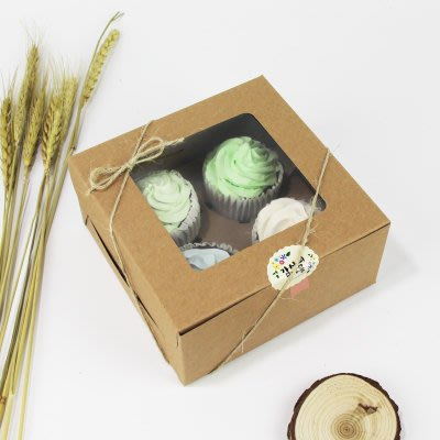 【嚴選SHOP】4格 開窗 牛皮紙方盒 馬芬瑪芬盒 杯子蛋糕 蛋糕盒 慕斯 奶酪 月餅盒 手提盒 布丁盒【C017】