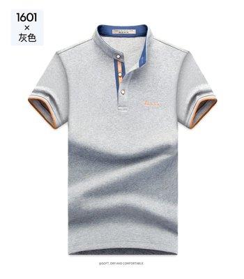 男士短袖t恤 2019夏季簡約修身純色小立領流行男裝短袖t