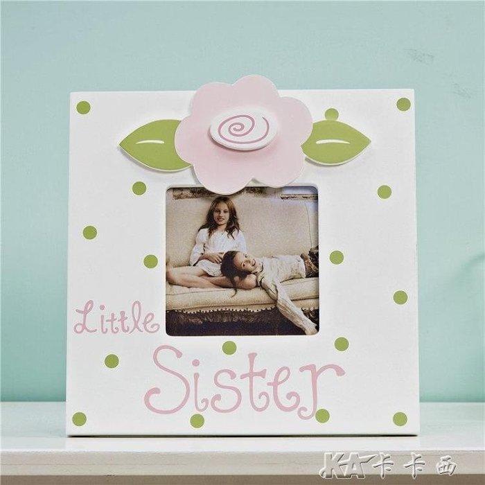 創意女孩6寸相框擺臺相片架兒童房畫框可愛花朵家居飾品照片擺件NXPN