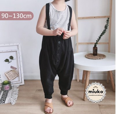miuko BABY款韓國風嬰幼兒男女寶寶男童女童 春秋款 排釦 哈倫 垮褲 吊帶褲/現貨