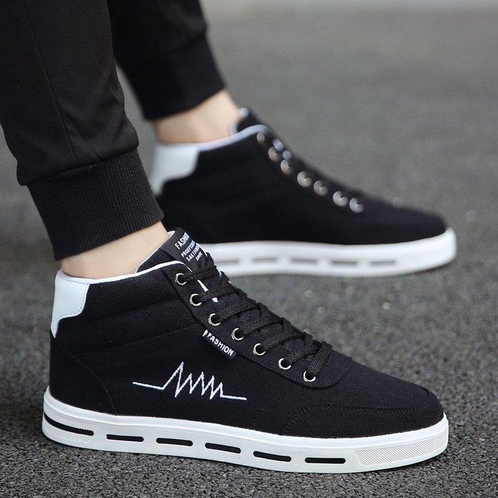 時尚男鞋高幫鞋男爆款男鞋韓版嘻哈潮鞋男士帆布鞋跨境板鞋男