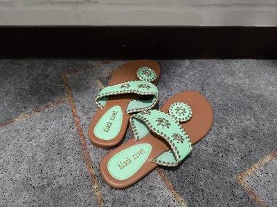 black rivet 夾腳拖(粉綠色/ 馬卡龍色)異國情調/鉚釘 - 美國鞋號5 ✓全新品 ✓免運
