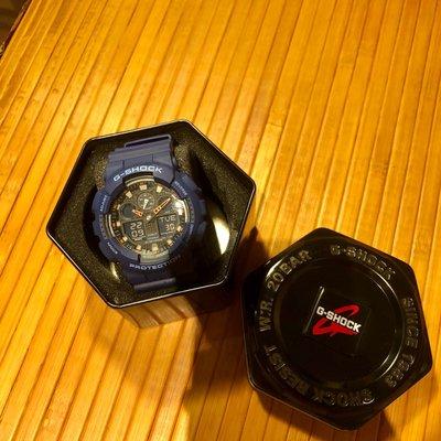 G-shock GA-100L藍橘色男錶