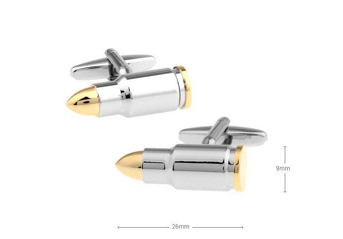 ☆TA精品☆ 男士精品-子彈造型 雙色電鍍 黄金 袖扣 161174