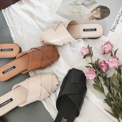 春夏百搭包頭拖鞋平底低跟半拖女鞋方頭韓國東大門防滑 奇思妙想屋