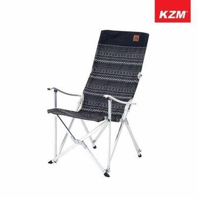 丹大戶外【KAZMI】KZM 彩繪民族風豪華休閒折疊椅(黑色) K3T3C025BK 椅子│摺疊椅│休閒椅│露營椅