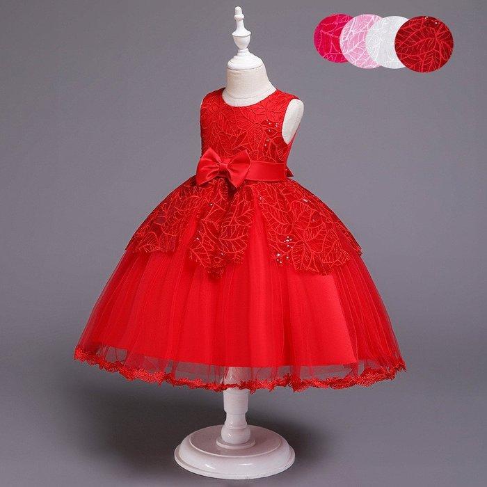 表演服 洋裝 禮服 公主裙 禮服兒童公主裙女童大紅色網紗縫縫紗裙女孩繡花 連身裙dres