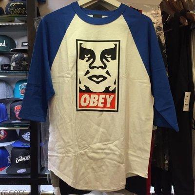 BEETLE 現貨 美國品牌 OBEY ICON FACE LOGO 人臉 文字 白藍 七分袖 TEE S M XL