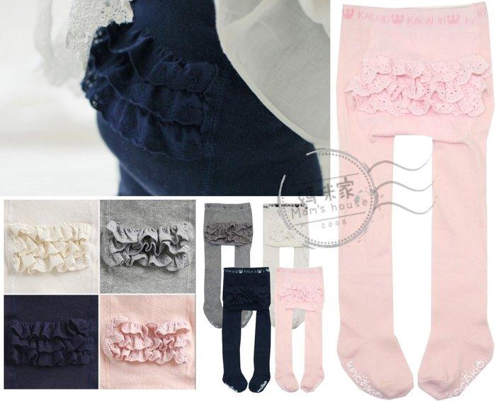 媽咪家【DD033】DD33三層花邊褲襪 蕾絲 蛋糕 素面 純色 素色 針織 彈性 褲襪 內搭 保暖 搭配洋裝~S.M號