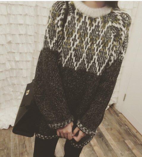 韓 復古質感長版毛衣 毛衣洋裝