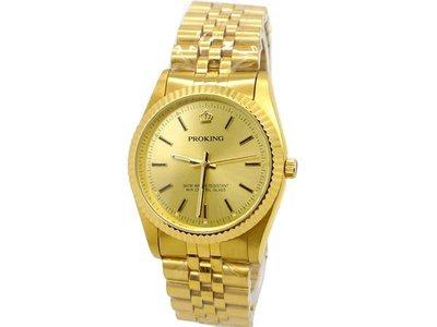 《時光流域》PROKING 皇冠 經典蠔式金色款時尚男錶/女錶/對錶