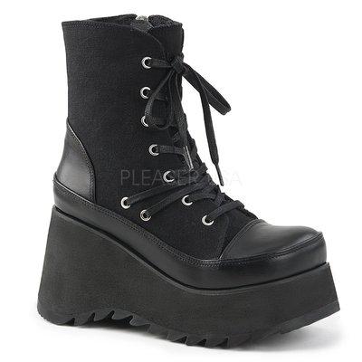 Shoes InStyle《三吋》美國品牌 DEMONIA 原廠正品龐克歌德蘿莉帆布厚底楔型靴 有大尺碼 『黑色』