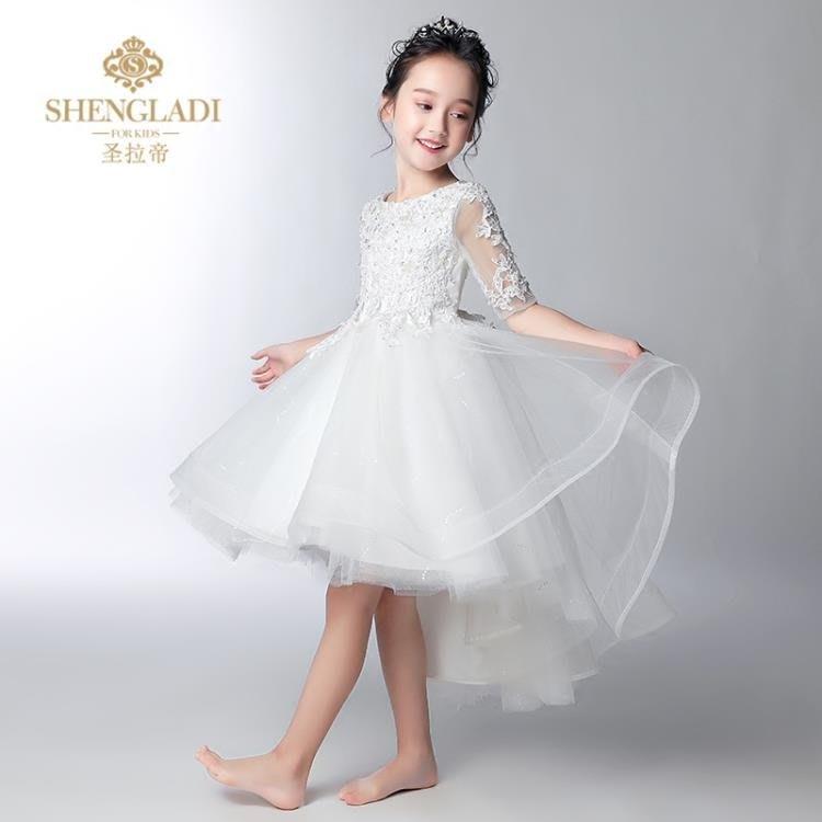 禮服 花童禮服女兒童婚紗女童公主裙蓬蓬紗兒童婚禮服白色主持人演出服 【樂購大賣家】