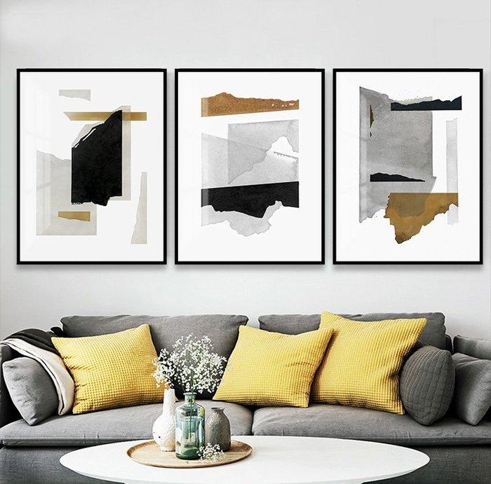 北歐現代簡約莫蘭迪色抽象裝飾畫畫芯灰黃微噴打印掛畫壁畫畫心(3款可選)