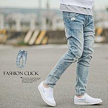 柒零年代【NB0113J】淺藍塊狀刷色小抓破小直筒牛仔褲(SS-G8253)