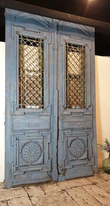 【卡卡頌  歐洲古董】稀有! 英國古董~ 極老 刷色 手工 鐵件窗花  門片 老門  古董門caa1