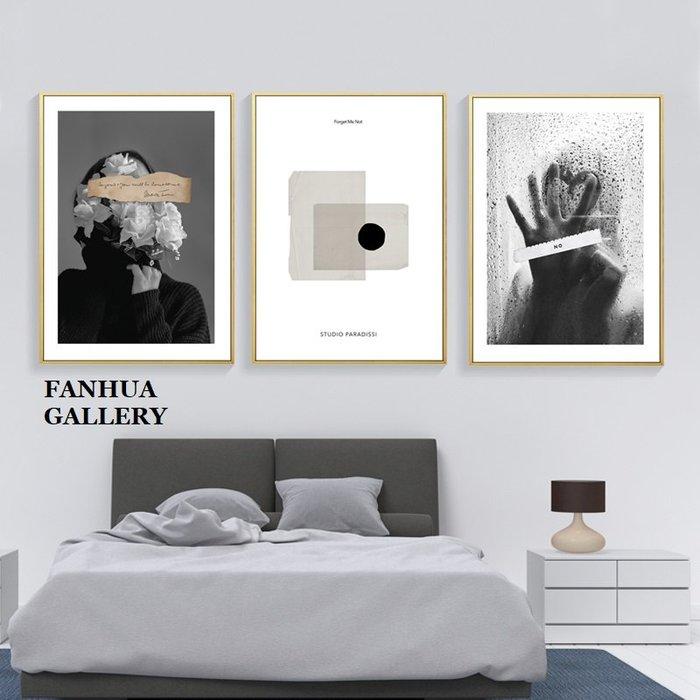 C - R - A - Z - Y - T - O - W - N 時尚黑白人物版畫北歐風格臥室牆畫創意個性藝術裝飾畫