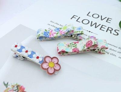 檸檬手作髮飾  韓國印花織帶髮夾/瀏海夾   3款