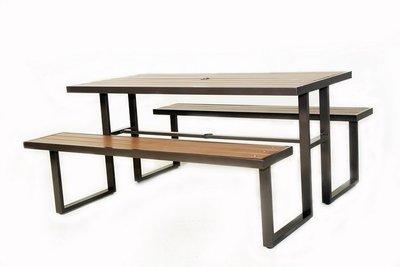 塑木野餐桌椅組~大台中地區免運費~