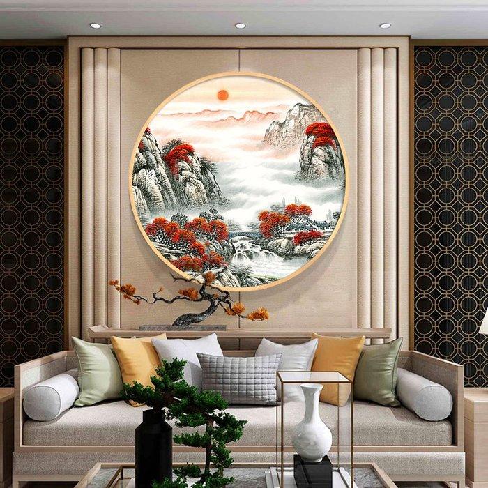 現代客廳鉆石畫 山水滿鉆5d鉆石繡鴻運當頭圓形 十字繡 鉆石繡磚石畫 鑽石畫