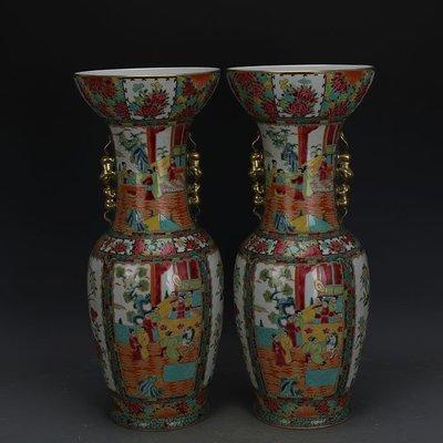 ㊣姥姥的寶藏㊣ 清晚期廣彩描金人物花鳥碗口尊一對全手工精品  古瓷古玩古董收藏