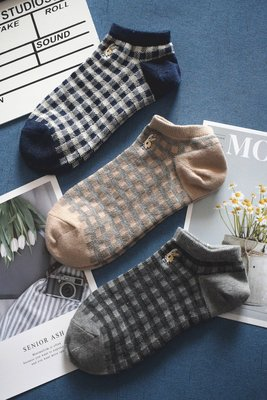 日本女士夏季純棉刺繡短襪 短筒薄款簡約...