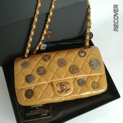 【RECOVER名品二手SOLD OUT】 CHANEL 限量金色菱格紋錢幣包 . COCO包 .