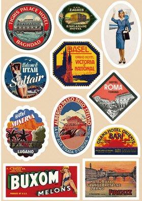 歐美复古 A4套裝11大枚 旅行箱贴纸 拉杆箱贴纸 行李箱贴纸 防水 - 復古酒店