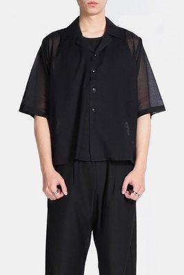 (vincent shop) immense 薄紗古巴領五分短版襯衫