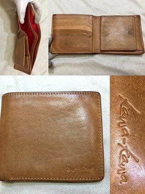 低價起標~專櫃kawa-kawa 品牌 牛皮皮夾 皮革短夾 鈔票夾 零錢包 手工包 似Cowa polo Fossil