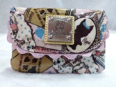 正品~Crystal Ball 狗頭包~粉紅愛麗絲 多隔層零錢包 鑰匙包 卡片包