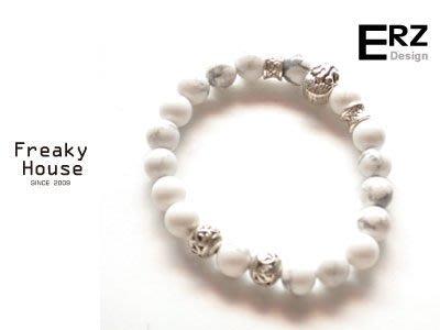*~Freaky House~* 台灣新銳設計師品牌ERZ抽象思考白紋石彈性串珠手鍊手環-白/可訂做-共2款