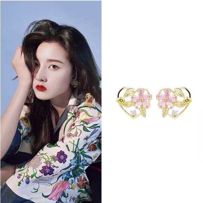💎1483、夢幻森林系仙女金心粉鑲輕奢耳環💎正韓飾品 耳環 珠寶 925純銀針