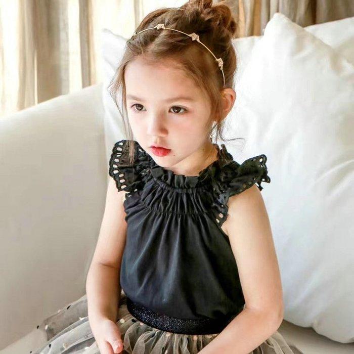 【小阿霏】兒童夏上衣 黑白兩色 女童縷空彈性束領背心T恤 女孩夏日薄款潮童衣CL151