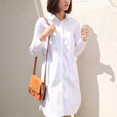 ZIHOPE 襯衫 上衣女春秋新款中長款長袖白色襯衫女韓版寬鬆大碼長款白襯衣ZI812