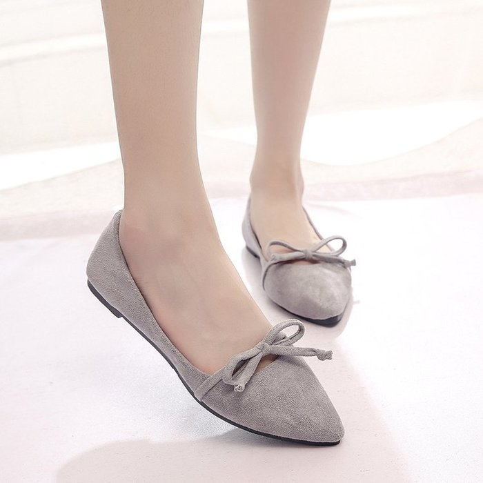 單鞋百搭女鞋平跟平底淺口舒適休閒鞋女甜美蝴蝶結