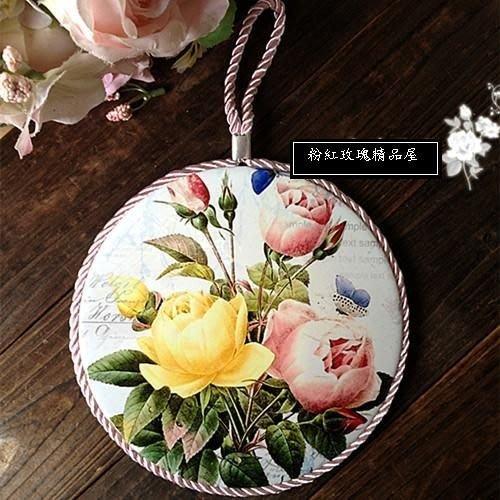 粉紅玫瑰精品屋~玫瑰花季 田園陶瓷軟木防滑鍋墊 隔熱墊 掛飾--粉黃玫瑰~現貨