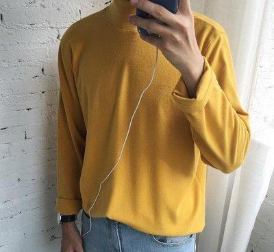 秋冬半高領打底衫男寬鬆長袖T恤原宿風學生純色套頭大學T情侶潮6色