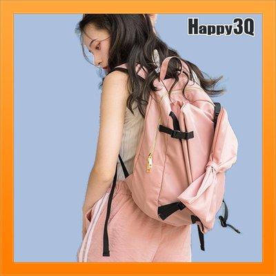 蝴蝶結後背包雙肩包粉嫩色街頭休閒包女包特殊設計軟妹包-粉/黑【AAA4473】